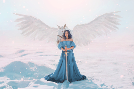 mysterious goddess of peace and justice from heaven near magical fairy white pegasus with strong wings, lady with neat blue hair, bare shoulders and eyes closed, girl in long bright cyan dress