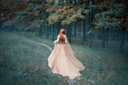 mysterious lady in long light expensive luxury dress with long trailing train runs along forest path, new Cinderella tale, graceful princess runs away from ball, no face in photo with art processing