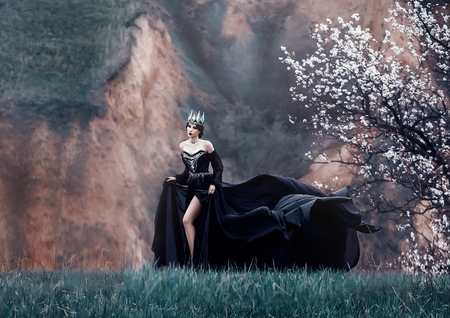queen of night in luxurious black dress with long flying train, lady with dark makeup, metal cold jewelry and crown, mysterious priestess on grassy slope near blossoming tree, gloomy gothic image
