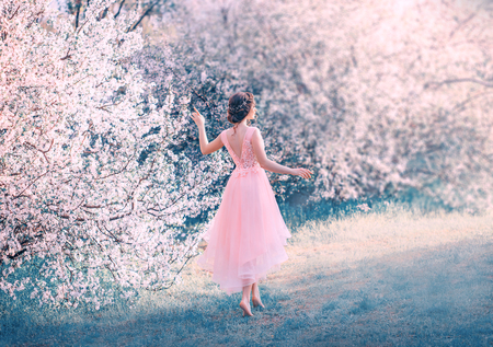 pretty slender girl with braided dark hair walks in garden barefoot, forest princess goes to sun, lady in delicate elegant pink dress with deep neckline on back, fantastic character, creative colors