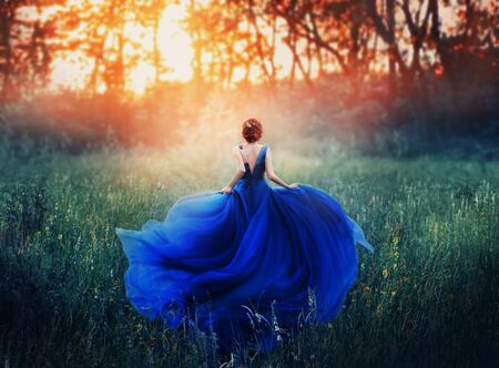 La princesa, con un peinado elegante, corre por un prado forestal para encontrarse con una ardiente puesta de sol con una bruma. Un lujoso vestido azul con una larga cola ondea al viento. Foto de la espalda sin rostro.