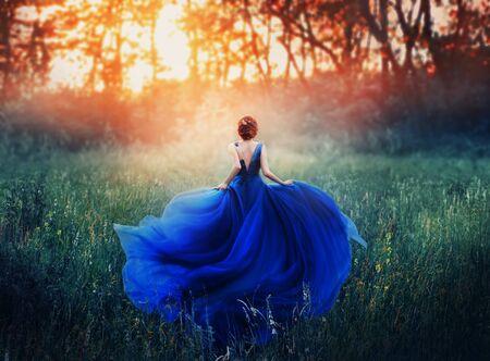 Prinzessin, mit eleganter Frisur, rennt durch eine Waldwiese, um einem feurigen Sonnenuntergang mit Dunst zu begegnen. Ein luxuriöses blaues Kleid mit langer Schleppe flattert im Wind. Foto von hinten ohne Gesicht.