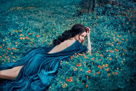 Seductive witch in a velvet blue robe resting in a clearing with yellow flowers. Long dark hair lying on a bare, open back. Luxurious, expensive, shiny fabric. Forest Queen. Stock Photo