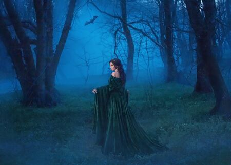 The seductive witch in a velvet blue robe with a long train walks through the night forest in search of the victim. The bat accompanies the hostess of darkness. Mysterious lady with luxurious hair Stock Photo