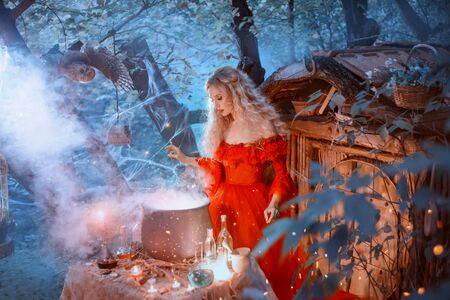 The seductive queen in a red dress with bare shoulders of the Baroque epoch, prepares poison for her enemies, late at night in an abandoned house. Gorgeous, long, curly blond hair adorns her face. Фото со стока