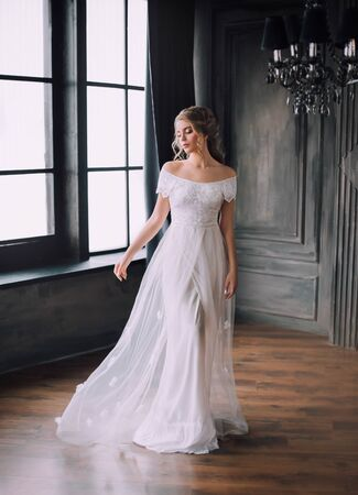 gentle princess in long light white dress with open shoulders in dark black room in Gothic style, fabulous girl, vintage gown, hall with large windows, beauty sharpened in mysterious castle 免版税图像