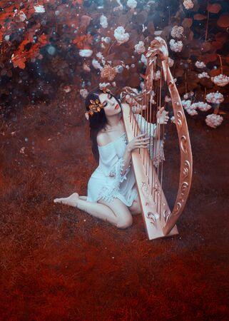 Eine junge Frau in einem weißen Vintage-Kurzkleid sitzt auf einem Waldrasen und spielt die goldene Harfe, die den Herrn verherrlicht. Fanatischer, kreativer, saftiger Rotton. Licht und Segen ergießt sich auf das Mädchen vom Himmel.