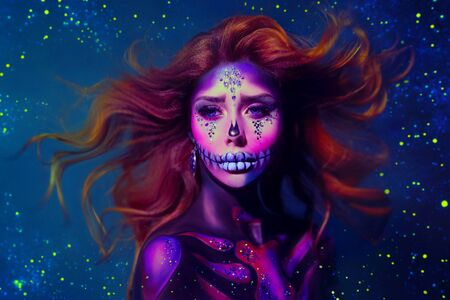 Redhead woman with creative make-up in the style of a sugar skull. Hair flies and waves against a cold, blue background of space, stars, radiance and sparkles. Free space for text. Art retouch photo Stockfoto