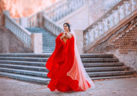 A young woman in a red oriental dress that flutters in the wind. Princess in a gold crown with rubies. Queen in the style of the Ottoman Empire. Arab beauty on the background of the old castle.