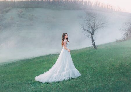 A fabulous woman stands against the backdrop of a mountain landscape in a white vintage ball gown. Tale of Cinderella with a doll face. Landscape hills in the cold autumn. Fog and haze at dusk. Banque d'images - 129551632