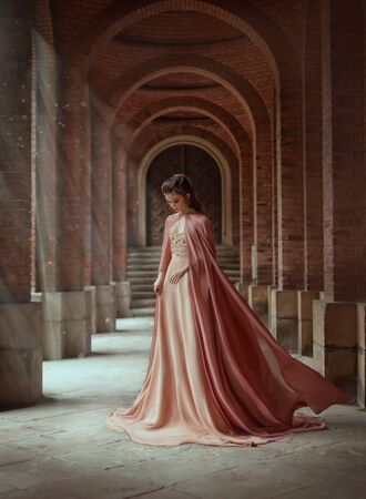 Sad princess in a vintage royal nude powdery color dress and in a cloak that flies in the wind. The magical Rays of the sun and hope pour on a woman through the columns. Long dark hair with a tiara. 스톡 콘텐츠