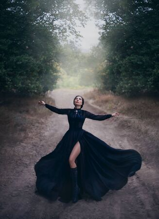 Gothic lady in black vintage silk flying dress, raises her hands in prayer. Beauty bare long leg. Witchcraft spell on the old road. Magic light and fog. Mysterious dark nature. Glamorous sensual Queen Banco de Imagens