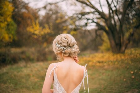 Beauty fashionable elegant collected high hairstyle. modest beautiful,attractive blonde enjoys fantasy nature, autumn weather. Vintage diadem. Mysterious queen from back without a face. pastel colors