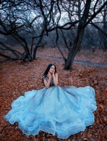 Attractive sexy woman in a luxury blue dress sits on ground like flower. Fallen orange leaves, bare trees. Fairytale Princess in gothic autumn forest. Vintage style. long black hair. enjoying nature