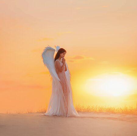 L'ange de la jeune femme séduisante se tient dans le désert en train de prier. Vêtements de costume au design glamour créatif avec des plumes d'ailes d'oiseau. Ciel dramatique de coucher de soleil de couleur jaune vif. Séance photo Divine Fairy Spirit