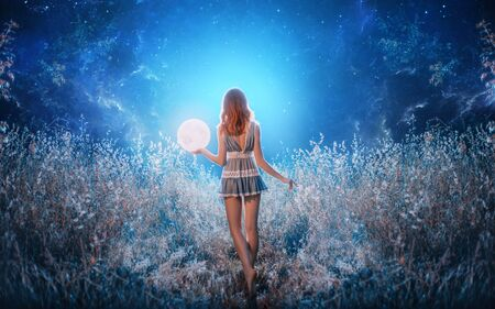 red hair woman blue short sexy dress catch hold moon stars. Power miracle universe cosmos portal teleportation witch teller. Turned away no face open back. Gothic fashion bright nature sparkle light