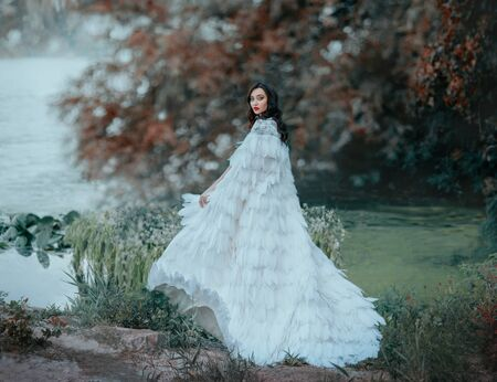 Elf Princess with wavy black hair walks along lake green grass. Queen in white long fly in wind cloak of bird feathers. Bright evening makeup red lips. Blurred backdrop autumn nature fog tree forest 写真素材