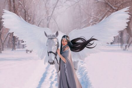 Young beautiful elf princess woman stroking mythical animal unicorn horse. fairy tale Pegasus spread white magic wings. Black hair wig fly in wind. silver diadem. Backdrop snow winter forest sunlight
