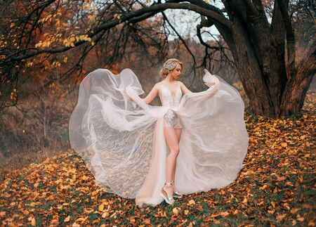 Beautiful young woman dancing backdrop autumn yellow leaves. Fairytale princess enjoy nature forest. White airy transparent dress flying in wind showing long legs. Blonde hairstyle vintage tiara