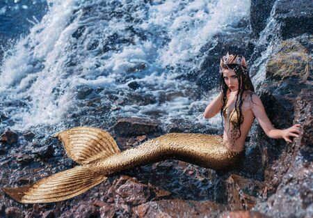 Fantasy woman real mermaid myth goddess of sea. Art goldfish creative costume ocean siren body spa relaxation. mystic spirit of lake river floats swimming in water. sunset nature Magic sun light Reklamní fotografie