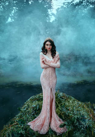 Beautiful fantasy woman, fashion model posing. image sea princess. Girl Queen stands in boat, tree branches decoration. Pink long vintage sexy dress. Royal diadem crown. Backdrop river water, haze fog Banco de Imagens