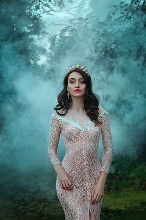 portrait beautiful charming woman Queen. Pink evening luxury long lace sexy dress. Girl princess brunette loose hair. Tiara, golden crown sparkles gem rhinestones. haze fog, dark silhouettes trees