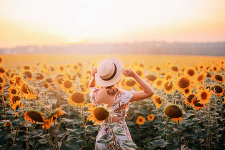 Beautiful summer nature amazing sunny sunset flowering field. Yellow orange sunflower flowers. Young modern woman turned away, enjoys harmony nature, rural relaxation. Girl touches straw hat on head