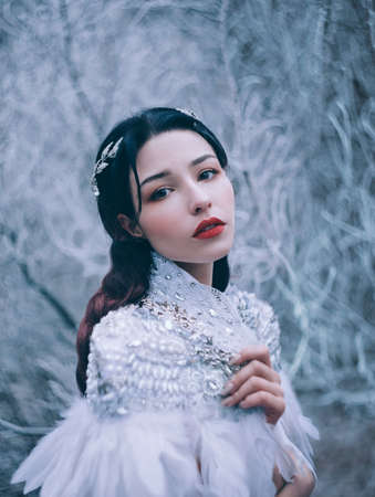 Fantasy Girl princess. Portrait of fairy woman Snow Queen, creative white clothes costume feathers cape. angel face. Frozen lady image. Winter nature blue ice branches. silver elf crown diadem, tiara