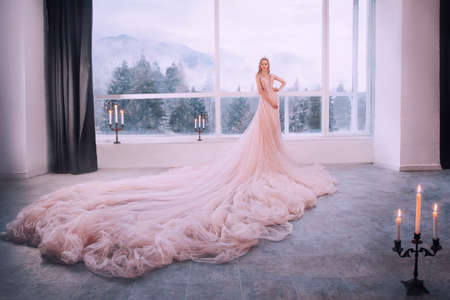 Fantasy girl princess in luxurious pink fluffy lush dress stands in castle room by vintage window with winter nature, forest trees mountains. Woman queen bride in wedding dress, long train, hem skirt