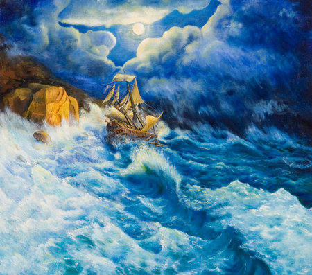 coast: Sailing ship goes aground on rocks in a storm Stock Photo