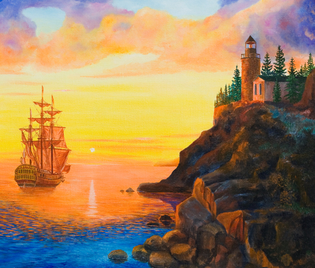 painting nature: Sailing ship near the shore in the rays of the setting sun