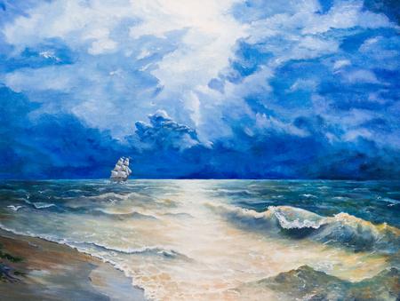 キャンバス油彩画。帆の下の船の図面は 写真素材
