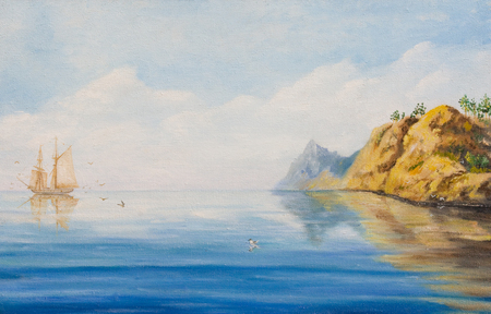 Calm on the sea. Oil painting on canvas Stock Photo