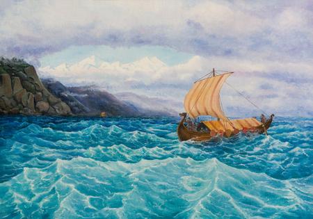 キャンバス油彩画。岩の海岸に沿って航行ヴァイキングとルーク