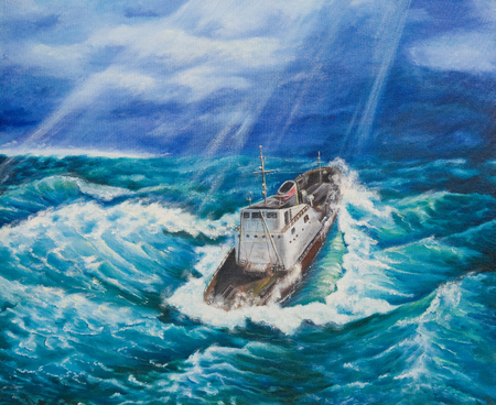 Oil painting on canvas.Ship in a stormy sea 스톡 콘텐츠