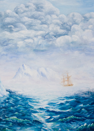 Oil painting on canvas. Sailboat among ice rocks