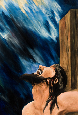 Oil painting on canvas. The Crucifixion Of Jesus Christ Stock fotó - 96233498