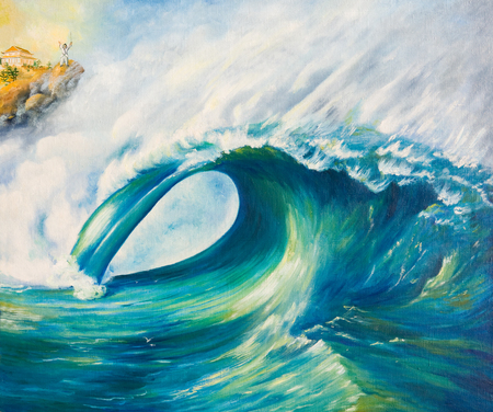A huge wave rolled ashore .Oil painting on canvas