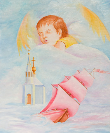 Happy dream child. Oil painting on canvas Stok Fotoğraf