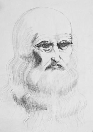 Portrait of a bearded old man . Pencil drawing on paper Stock Photo