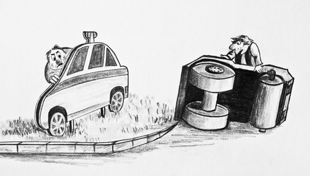 Two men turned the road roller. Road shield in the form of a police car. Caricature 写真素材