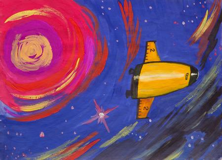 Fantastic spaceship flies to a bright star