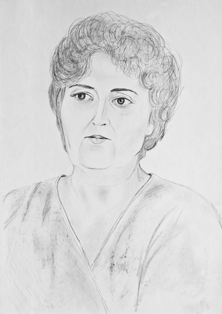 Portrait of a beautiful  woman. Pencil drawing on paper Stock Photo