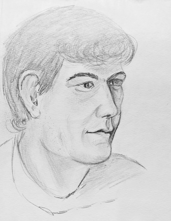 Portrait of a young man. Pencil drawing on paper Stock Photo