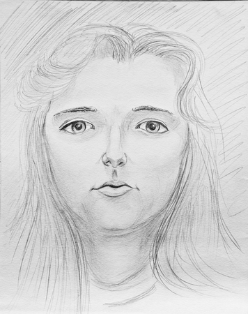 Portrait of a beautiful young woman. Pencil drawing on paper Stock Photo