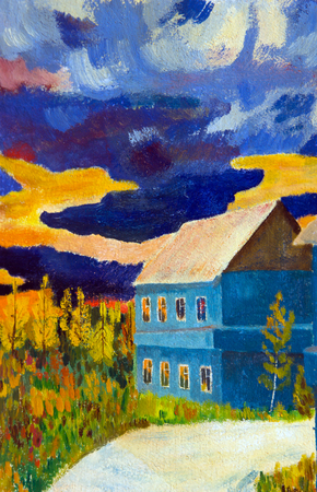 Autumn landscape with a house on the background of a storm sky at sunset