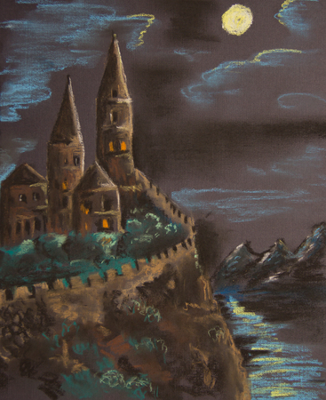 Ancient castle on a high rock illuminated by the moon. Pastel drawing on paper