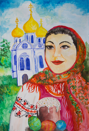 Portrait of a girl in a red scarf with Easter cake on the background of the church