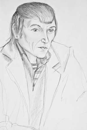 Portrait of a middle-aged man. Pencil drawing Stock Photo