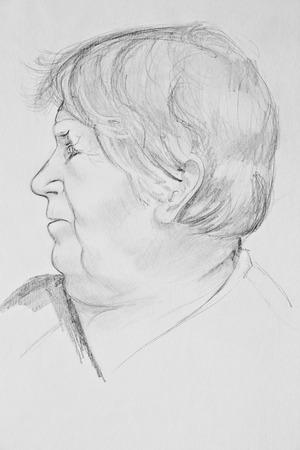 Portrait of an elderly woman. Pencil drawing